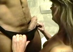Young stud Rocco Siffredi is banging Silver Forrest in the toilet room