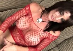 Unbelievably hot brunette Blake James shows of her perfect tits in red mesh