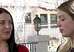 Long haired lesbian pornstar Angela White eats out Giselle Palmer