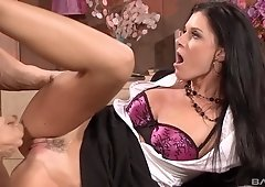 Slutty brunette MILF missionary style fucked on the table