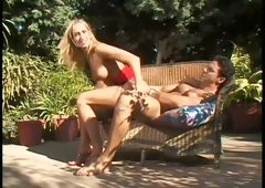 Delicious blondie Sophie Evans had hard ass fuck outdoors