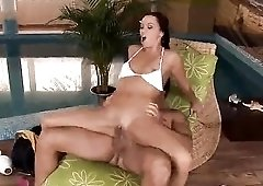 Bowling pin, fist, and cock up her ass