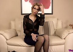 Kinky nerdy chick Eva is actually ready for stripping and solo show