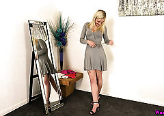 Zealous gal called Gracie stripteases and flashes tits before the mirror