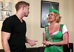 Blonde girl-scout shares cookies and blowjobs