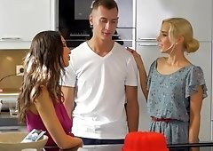 Mom Nesty enjoys bisexual threesome with her stepson & his teen gf