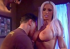 Stunning blonde Nikki Benz cannot resist a huge boner
