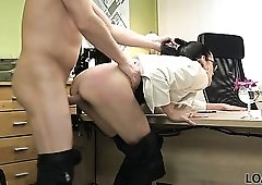 Raven haired nerdy secretary Elis stands on knees to give BJ