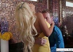 Ardent tanned busty blonde sexpot Bridgette B is guru of nice titjob