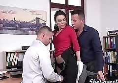 Office babe DP banged after sucking cock