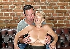 Blonde granny Malya likes it when a young guy bangs her