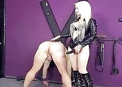 Dude is bent over and fucked hard by his mistress