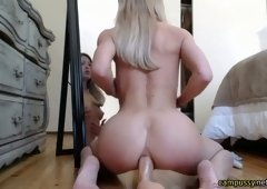Blonde babe riding a dildo anal