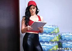 Babe in leather pants Whitney Wright pounded doggy hardcore