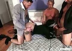 Whorish chick Stella Raee enjoys gangbang surprise for the first time