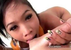 Juicy oriental teen harlot having a wonderful time by Masturbating