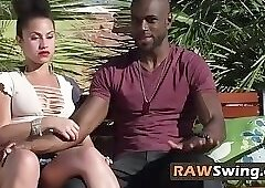 Laura has hot foreplay with black guy at the pool before partying