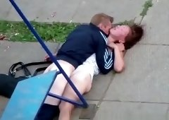 Drunk couple fucking in the playground