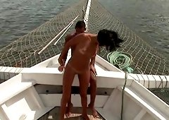 Enjoying a boat ride on his hard pecker