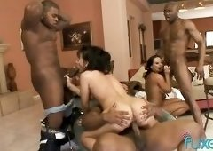 These bootyfull goddesses only have group sex with black guys