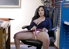 Busty secretary is sucking a huge cock