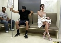 Bitch undresses in the train to get fucked hard