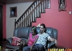 Ebony babe with big natural tits fucked hard in POV by her white boyfriend
