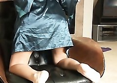Satin robe striptease and pink lingerie play