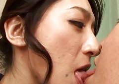 Dazzling and delightful japanese  is masturbating her slit