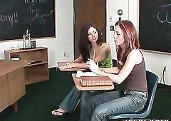 Redhead Riley Shy strips with a classmate
