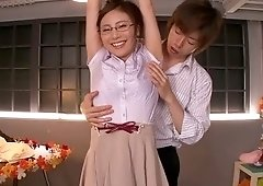 Sexy flat chested asian teen gal Madoka Hitomi giving a great blow job at workplace