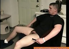 Thick Uncut Dilf Fuels Up For Some Dick Jacking