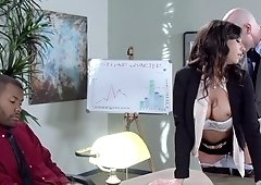Stephani Moretti's pussy eaten out in 69 and fucked hard to a creampie at work