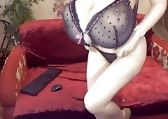 Huge Tits Milf Blows Dildo On Cam
