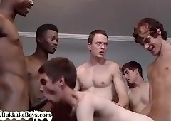 Luscious homosexual boy receives team screwed in bang
