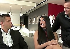 Gorgeous babes Anissa Kate and her friend bang with two guys at once