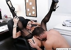 Bent over office chair mesmerizing babe Audrey Bitoni is banged from behind