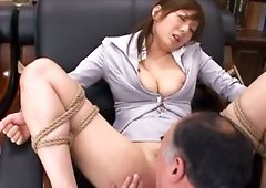 Horny Office lady with dirty hairy pussy Yuma Asami fingered