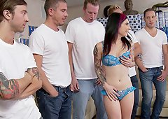 Crazy slut Joanna Angel gets gang banged and covered in cum