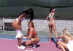Tennis lesbians have a hot foursome on the court