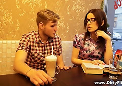 Nerdy chick in glasses Lizaveta Kay is fucked and jizzed by sex-hungry collage mate