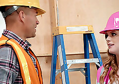 Blonde cutie Dolly Leigh caught fucking a construction worker