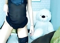 Hot Blonde And A Teddy Bear - Real Orgasm