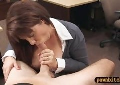 Big titted brunette MILF sells old coins and postcard to earn a chunk of money to bail out her husband from jail