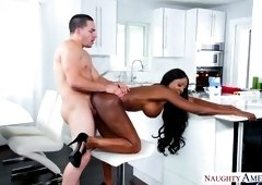Stunning ebony harlot Diamond Jackson is having sex with her white neighbor