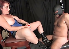 Babe with tight pussy gets licked out by her slave