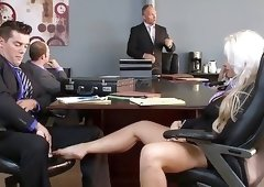 Beautiful blonde gently jerking dick by her legs at the meeting