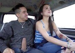 Bruno fucks hot Vietnamese girl in a van
