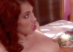 Redhead vixen Faith Leon mouth and pussy stuffed with hard dick