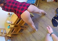 Busty tattooed brunette teen Natalie Hot gets fucked on the table